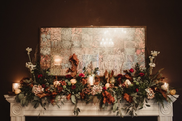 The florals were autumnal, with burgundy, rust, orange blooms and lush greenery