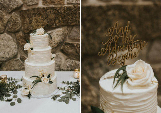 The wedding cake was a textural white one with fresh blush blooms and a calligraphy topper