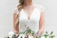 11 a delicate and undone twisted braid with some bangs is ideal for a modern and casual bride
