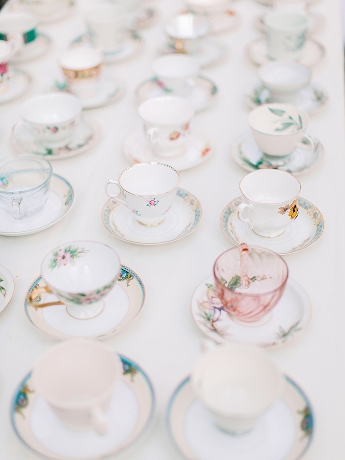 Teacups, which were used to serve soup, were heirloom ones