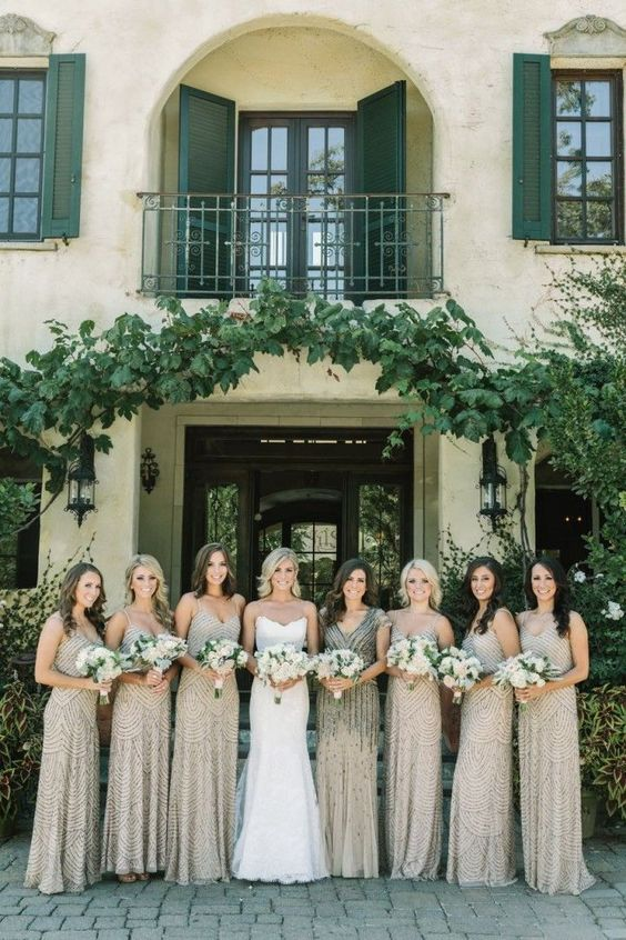 embellisheed taupe bridesmaids' dresses with various necklines for an art deco wedding