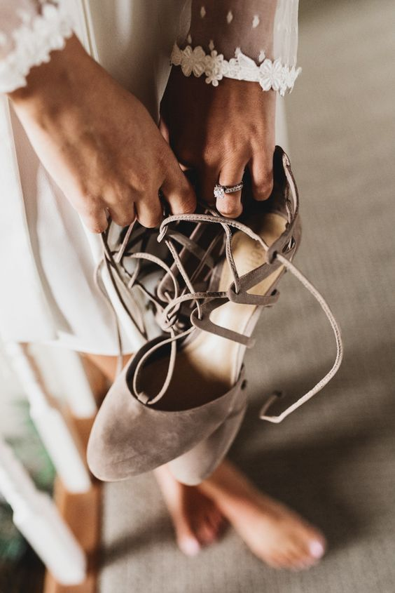 amazing taupe wedding shoes with lacing up for a chic yet neutral bridal look