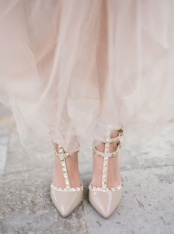 fantastic studded taupe wedding shoes with straps for a beautiful look and to wear them after