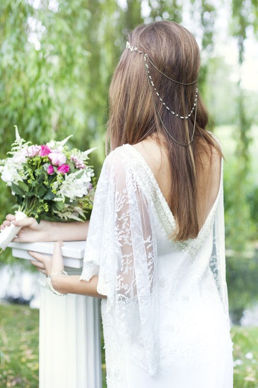 a layered boho chain heapiece with pearls and rhinestones for a relaxed boho look