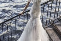 15 an off the shoulder sweetheart neckline mermaid wedding dress with lace, embellishments and a chapel train