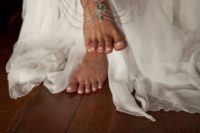 15 gypsy anklets with layeres of silver chain and some turquoise stones for a boho bride