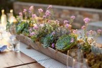 17 a chic casual summer centerpiece with pink blooms, moss and succulents in a wooden box