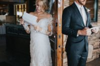 17 a super romantic off the shoulder lace fitting wedding gown with long illusion sleeves and a train