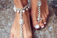 21 bold gypsy-inspired barefoot sandals with rhinestones and pearls for a coastal boho bride