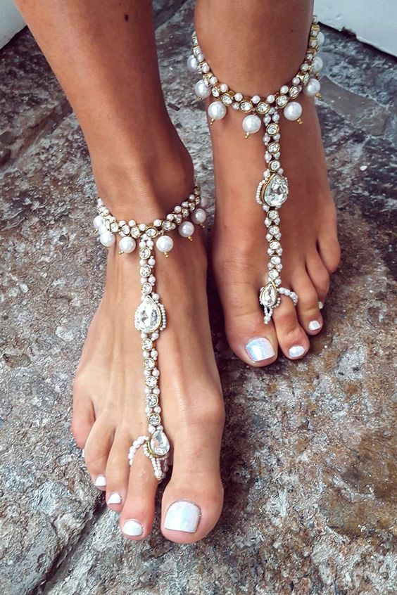 92dc76a14 bold gypsy-inspired barefoot sandals with rhinestones and pearls for a  coastal boho bride