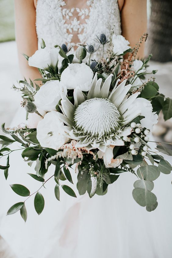 21a modern bouquet with a king protea, white blooms, thistles, baby's breath and greenery
