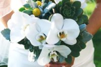 24 a whimsy bouquet of white orchids, succulents and billy balls for a unique touch