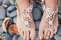 24 cute floral barefoot beach sandals with rhinestones and leaves for a garden bride