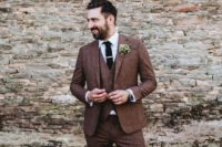 25 a rich brown three-piece tweed suit with a black tie, brown shoes for a fall wedding