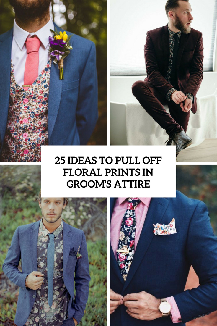 ideas to pull off floral prints in groom's attire cover