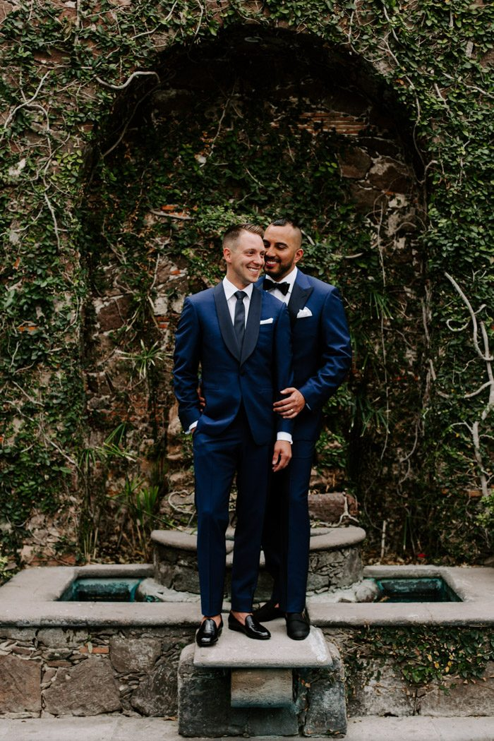 These dapper grooms tied the knot in Mexico, the wedding was full of bright colors, Mexican cheer and impeccable taste
