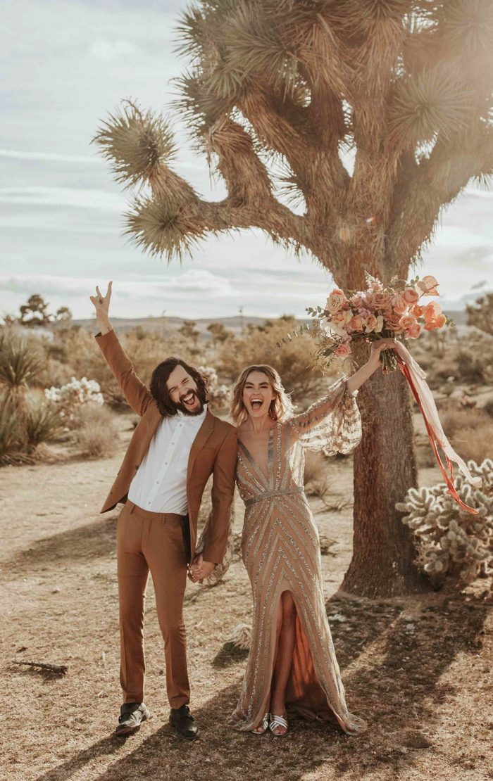 This cool couple took part in the shoot in the desert done in rose gold with a touch of glam and boho