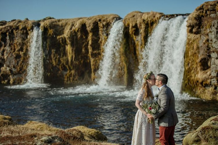 Iceland Destination Wedding At A Waterfall