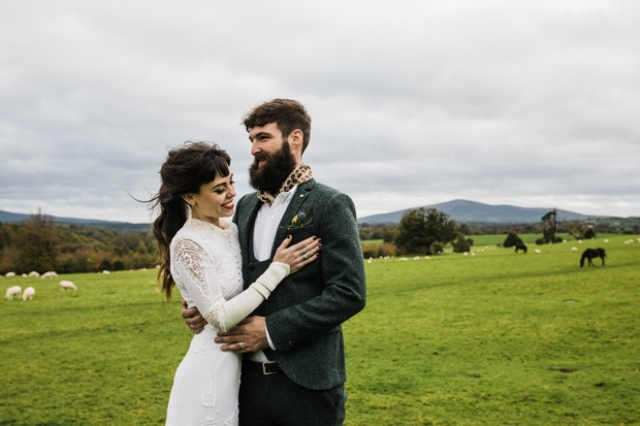 This couple went for a moody wedding in the Irish countryside, with vintage and rustic charm