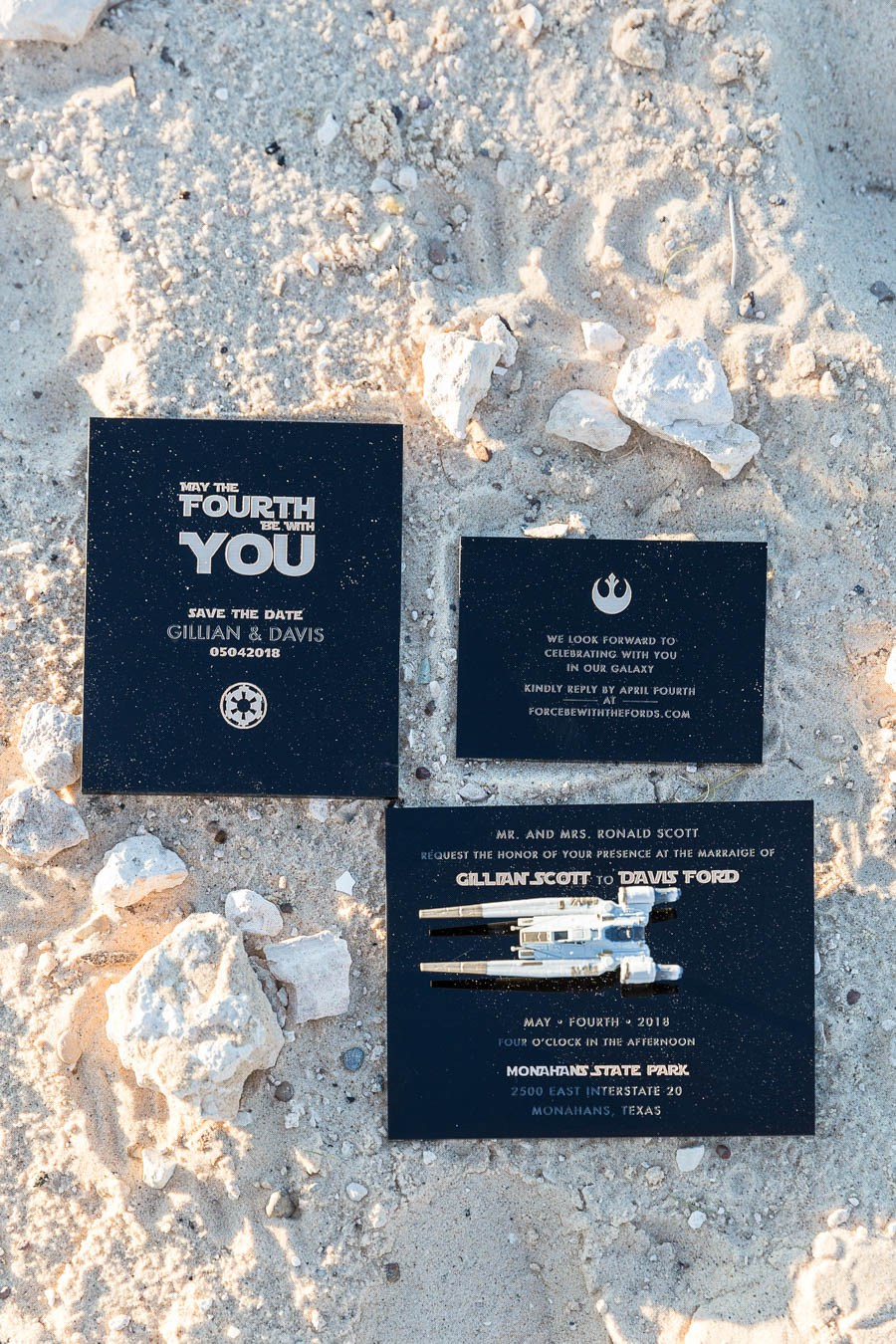 This wedding stationery in black and gold was created for the stylish Star Wars wedding shoot