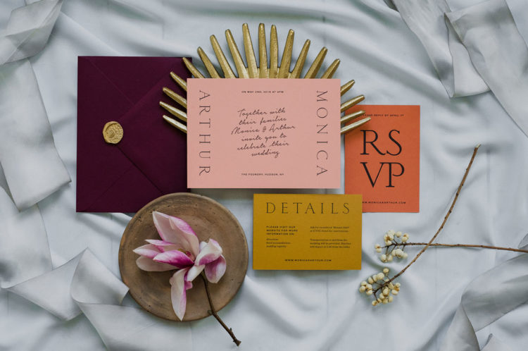 The wedding stationery is done in bold colors traditional for Morocco