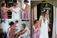 03 She was wearing a chic boho lace wedding gown with a cutout back and the bridesmaids were rocking dusty pink knee gowns
