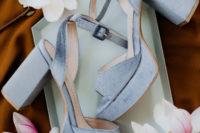 03 The bridal heels were powder blue ones on a platform