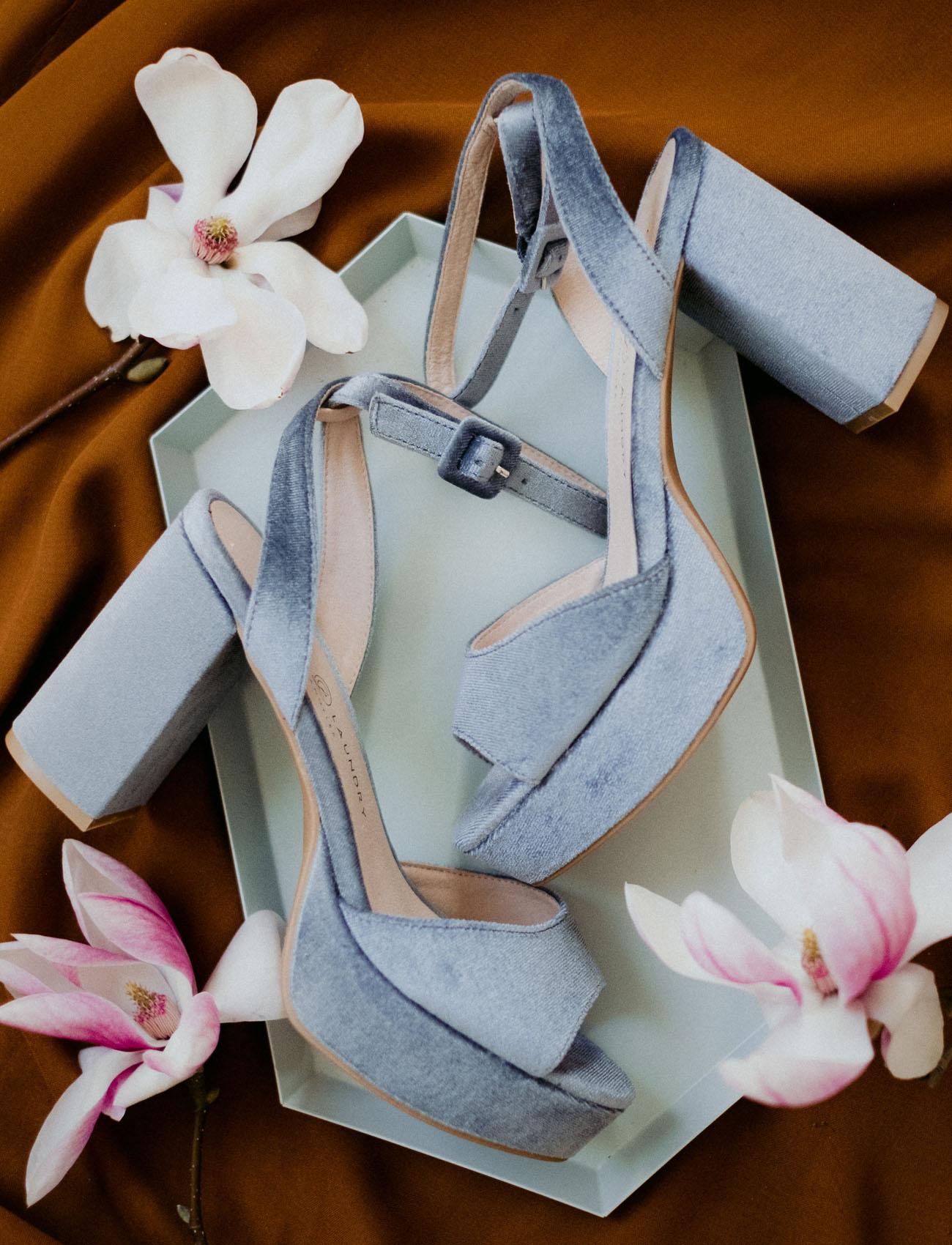 The bridal heels were powder blue ones on a platform