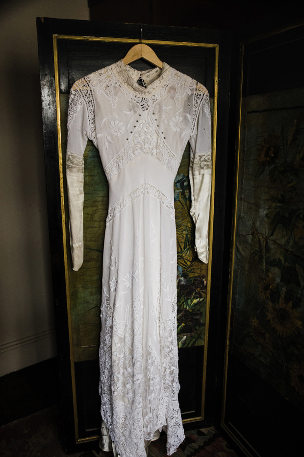The wedding dress was composed of three different vintage gowns purchased by the bride