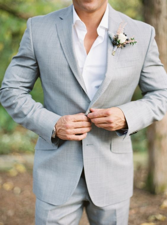 summer groom's attire in grey