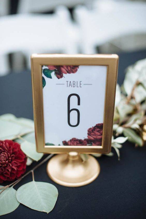 botanical table number using Ikea Tolsby frame