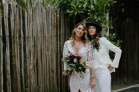 04 Chelsea was rocking a bold bouquet with burgundy and white blooms plus textural greenery