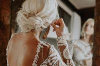 messy yet cute bridal updo