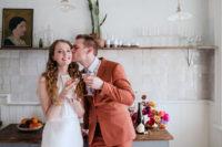 04 The bride was wearing a minimalist white sheath dress with a halter neckline