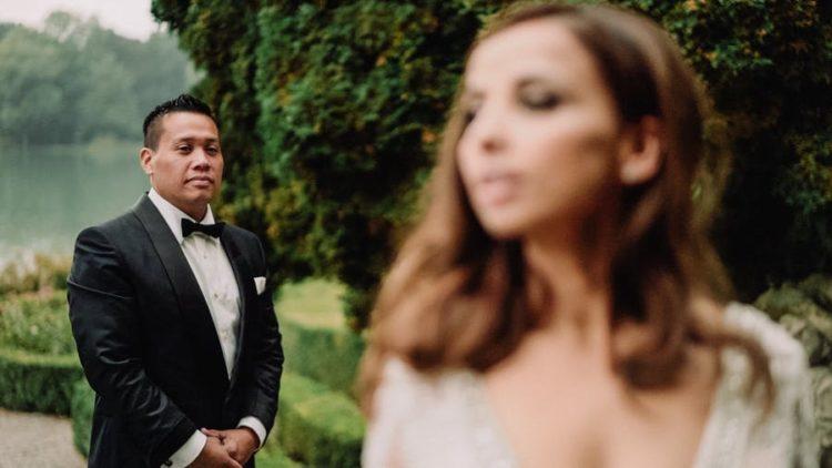 The groom was wearing a black tuxedo