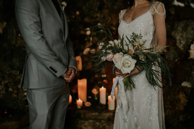 The wedding bouquet was a neutral one, with blush and white blooms and greenery, it was very delicate