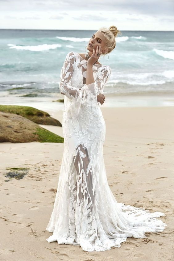 gorgeous Marrakesh Melody wedding dress with a slip dress with a front slit and a lace applique overdress