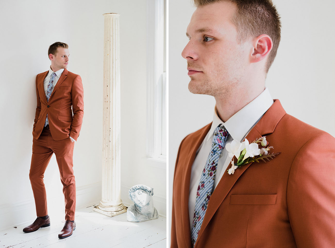 The groom was rocking a rust colored suit, a blue floral tie and brown shoes