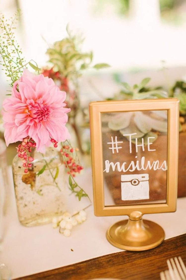 Tolsby frame is turned into a modern glam wedding sign