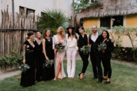 07 The bridesmaids were wearing mismatching black dresses and jumpsuits