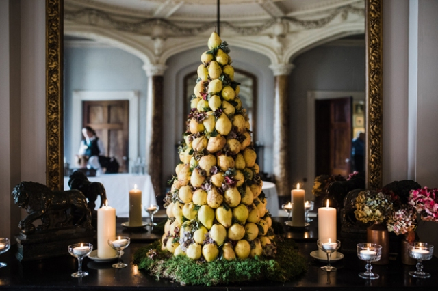 This is a pear wedding cake made by the groom himself as the couple didn't like the idea of a usual cake