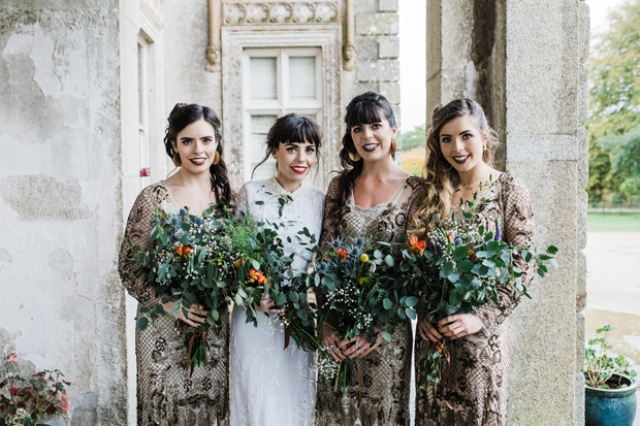 The bridesmaids were wearing gorgeous vintage gold mesh dresses and rocking a dark lip