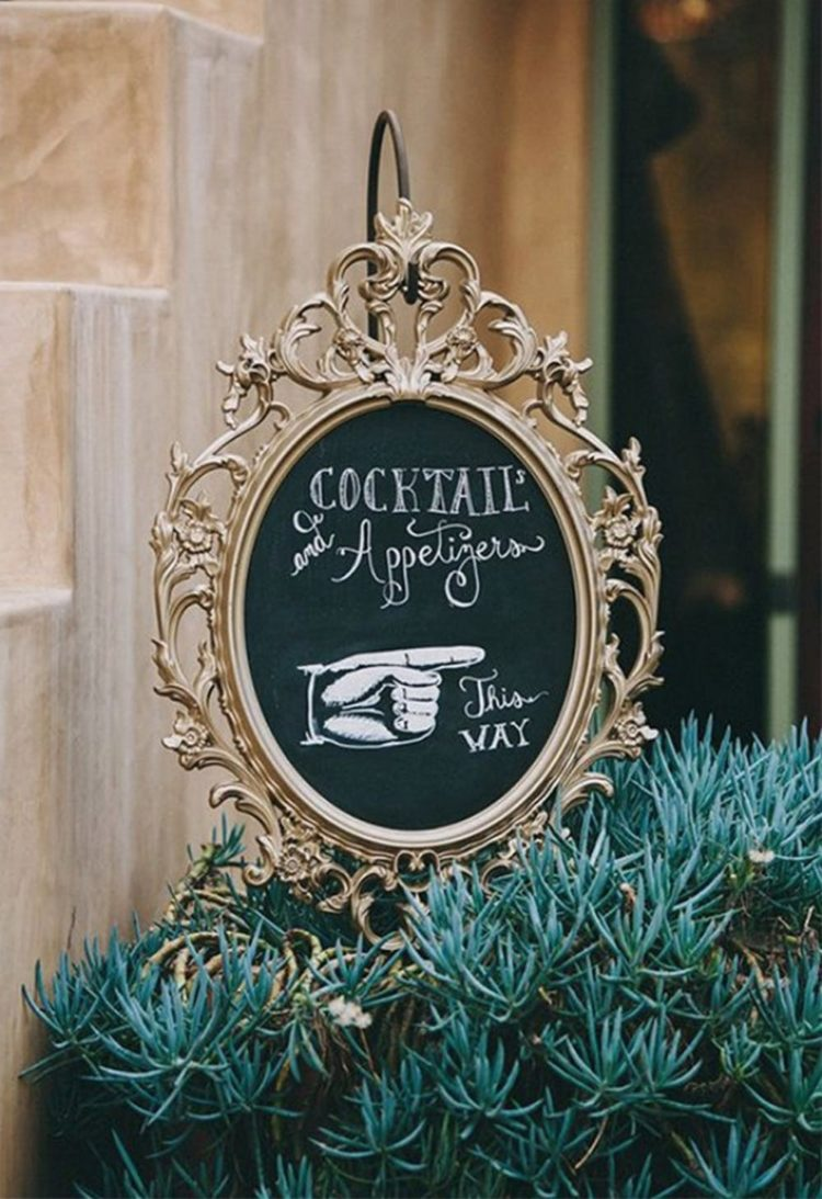 IKEA Ung Drill frame turned into a chalkboard sign for a wedding