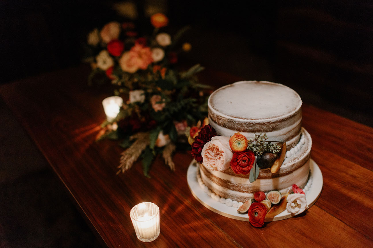 a little bit moody naked wedding cake