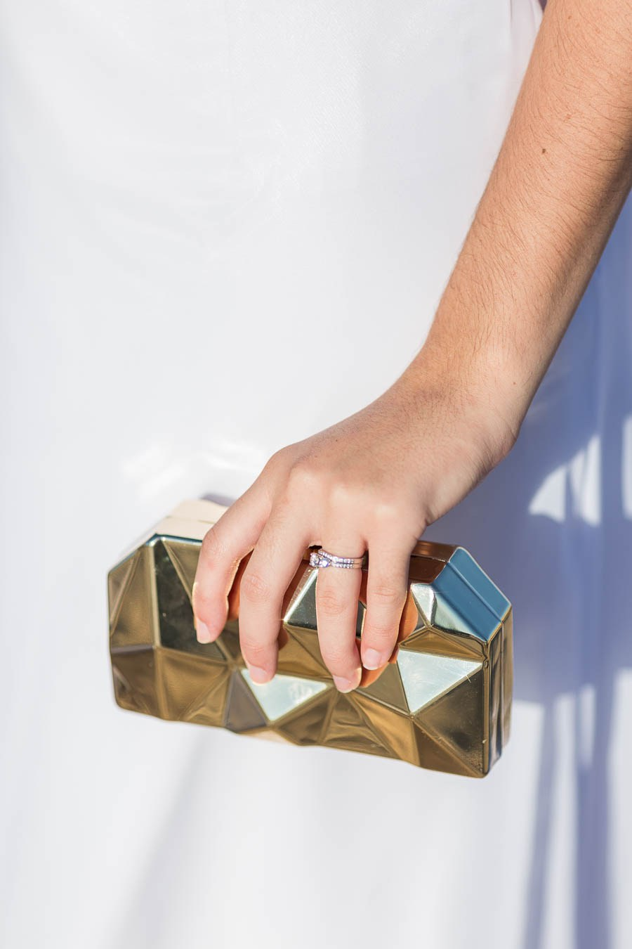 What a gorgeous gold geometric clutch to rock, ideal for a glam bride