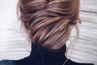 09 a super chic and elegant low chignon hairstyle with much volume and some bangs just wows