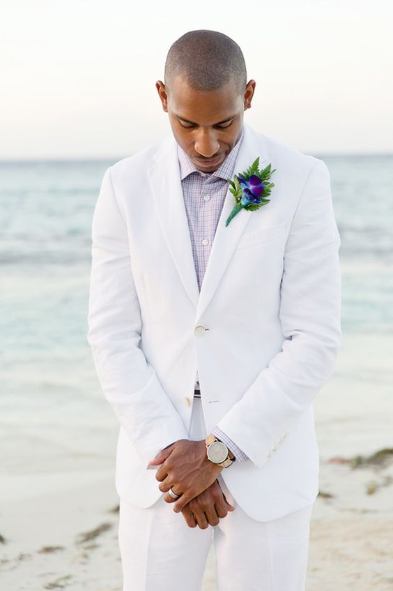all white beach groom attire