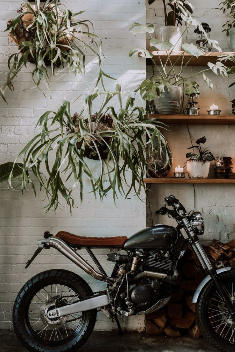 The greenery and blooms softened industrial decor