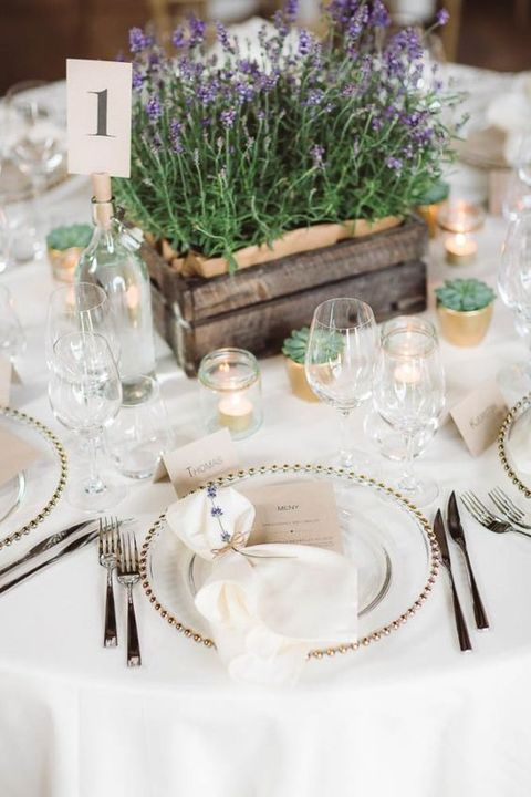 a small crate with lavender is an amazing rustic idea for a rustic wedding