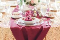 10 an adorable burgundy and gold tablescape with neutral blooms and floral plates